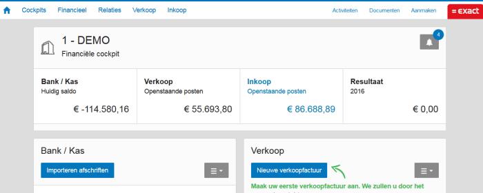 exact online boekhouden financiele cockpit