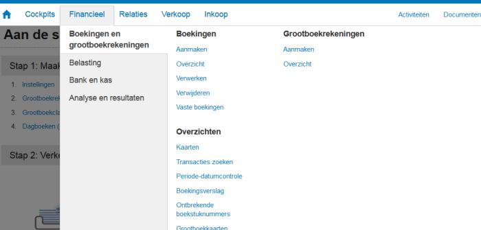 snel scherm menu exact online